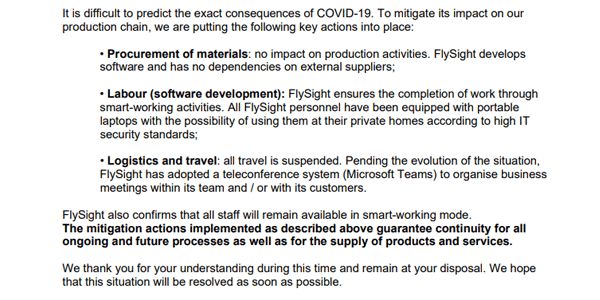 FlySight Business Continuity regarding COVID-19